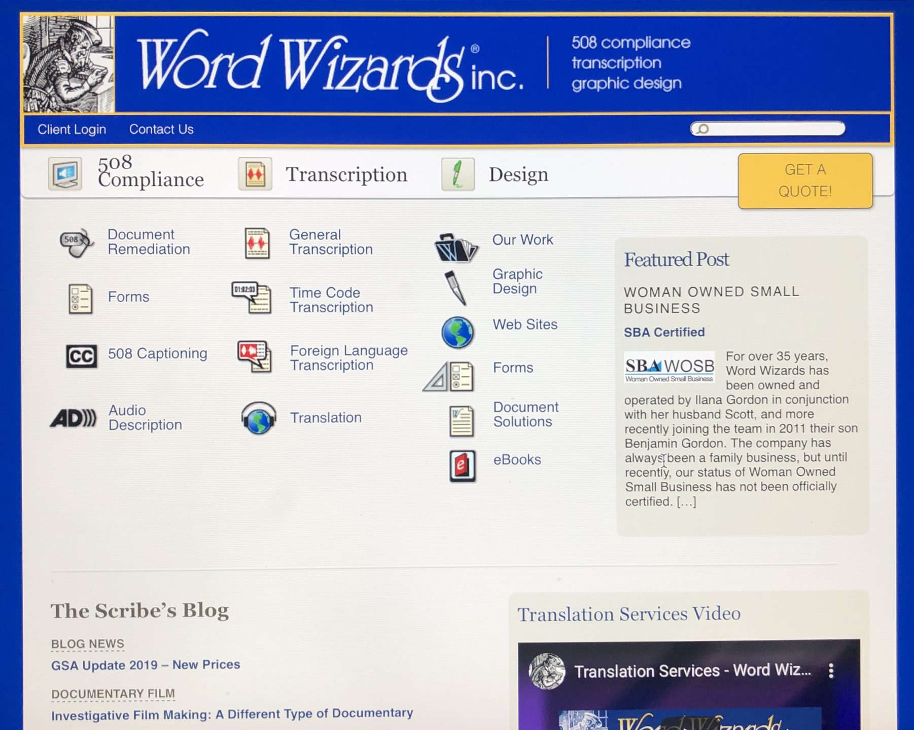 Screenshot of old word wizards website.